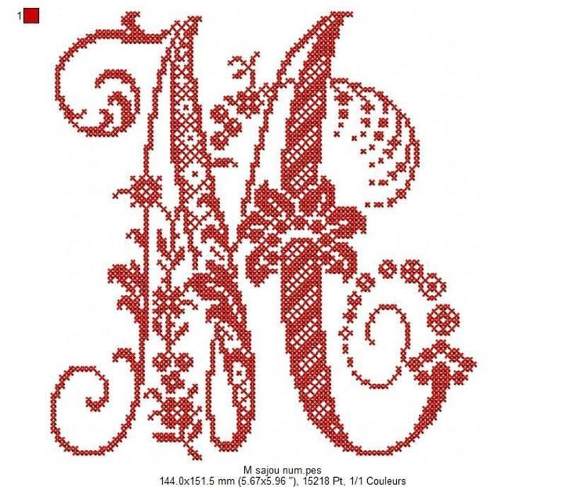 monogramme point de croix lettre